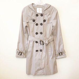 BB Dakota | Khaki Rain Jacket Trench Coat Pleated